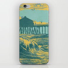 Vintage Huntington Beach Poster iPhone & iPod Skin