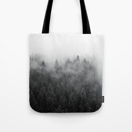 Black and White Mist Ombre Tote Bag