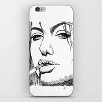 angelina jolie iPhone & iPod Skins featuring Angelina Jolie by The Curly Whirl Girly.
