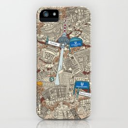 Illustrated map of Berlin-Mitte. Sepia iPhone Case