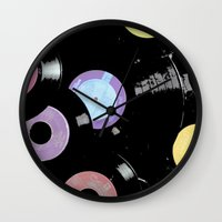records Wall Clocks featuring Records by Whitney Retter