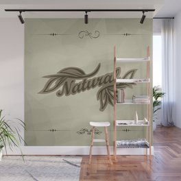 sticker badge with the inscription sheet and Natural. in natural colors Wall Mural