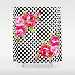 Roses on black dots Shower Curtain