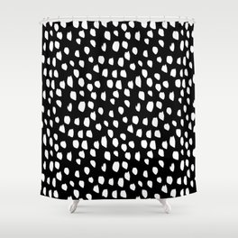Handdrawn drops and dots on black-Mix & Match with Simplicty of life Shower Curtain
