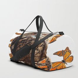 ORANGE BUTTERFLIES OWL IN TREE WHITE ART DESIGN ART Duffle Bag