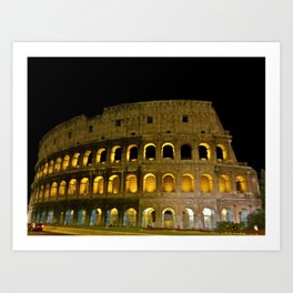 The Colosseum at Night, Rome Art Print