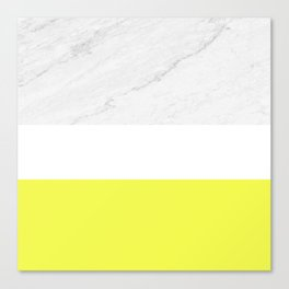Marble yellow stripes Canvas Print