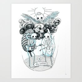 The Lovers Skeleton Tarot Art Print