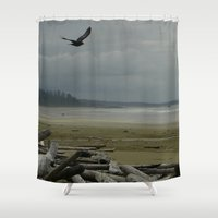 west coast Shower Curtains featuring West Coast by lyneth Morgan