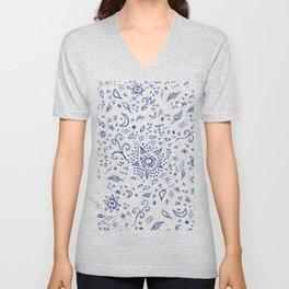 Modern hand drawn doodles esoteric stars flowers blue watercolor Unisex V-Neck