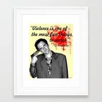 tarantino Framed Art Prints featuring Tarantino by Ryan Bauer/Gawk