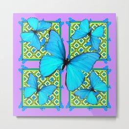 Blue Satin Butterflies Pattern On Lilac Purple Metal Print