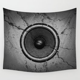 Music speaker on a cracked wall Wall Tapestry