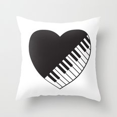 Piano Heart Throw Pillow