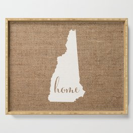 New Hampshire is Home - White on Burlap Serving Tray