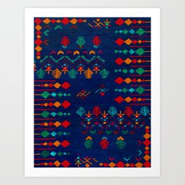 -A17- Anthropologie Moroccan Blue Artwork. Art Print