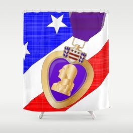 Flag and Purple Heart Shower Curtain