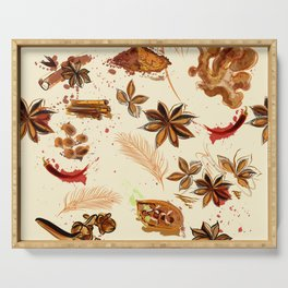 World of spices. Vector design Serving Tray