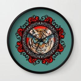 Masquerade Bengal Tiger Mandala Wall Clock
