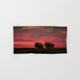 Two American Buffalo Bison at Sunset Hand & Bath Towel