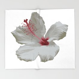 Pure White Hibiscus Tropical Flower Throw Blanket
