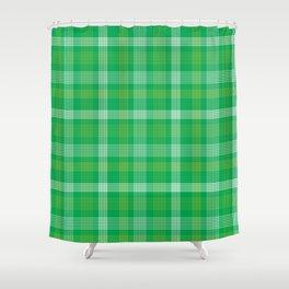 Green Plaid Pattern Shower Curtain