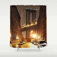 brooklyn Shower Curtains featuring Brooklyn by Rochana Dubey
