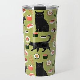Black cat sushi cat breeds cat lover pattern art print cat lady must have Travel Mug