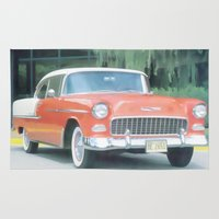 sports Area & Throw Rugs featuring 1955 Chevrolet Sports Coupe by Just Art