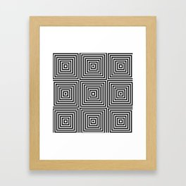 Square Optical Illusion Black And White Framed Art Print
