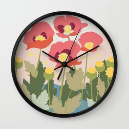 Poppies in the Fields Wall Clock