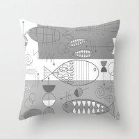 mid century modern Throw Pillows featuring Mid-Century Modern Fish by Kippygirl