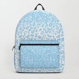 Trendy Sky-Blue Glitter Leopard Print Ombre Design Backpack