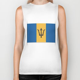 Flag of Barbados. The slit in the paper with shadows. Biker Tank