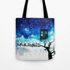 Owl Tardis Starry Night Tote Bag