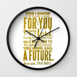 HIS PLANS FOR ME GOLD Wall Clock