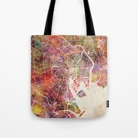 tokyo Tote Bags featuring Tokyo by MapMapMaps.Watercolors
