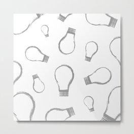 Light Bulb Silver Metal Print