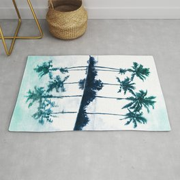 Palm Tree Reflections Teal Rug
