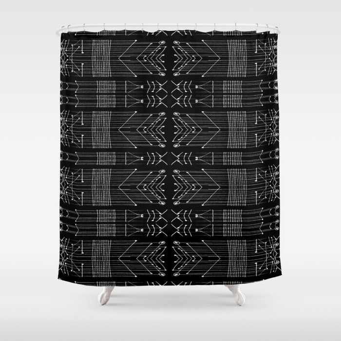 Black And White Tribal Shower Curtain By Danflcreativo