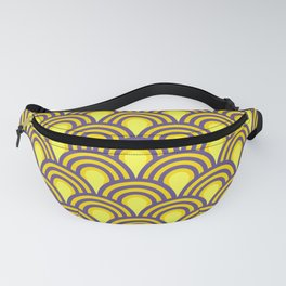 retro sixties inspired fan pattern in yellow and violet Fanny Pack