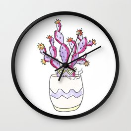 Purple Cactus Gal Wall Clock