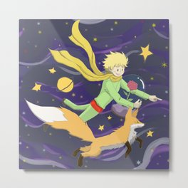 The Little Prince - Flight Through Space Metal Print