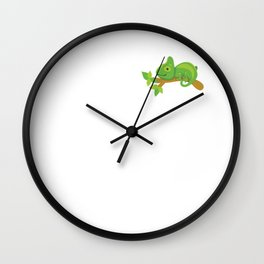 Crazy Chameleon Lady Reptile Animal Lover T-Shirt Wall Clock