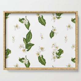 Citrus Flower Pattern with Spring Flowers and Leaves Serving Tray
