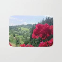 Geranium outside the window photography Bath Mat