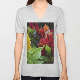 red , yellow, and pink flowers planted in the flower bed. home decor Unisex V-Neck