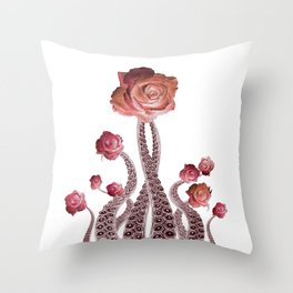 Floral Octopus Tentacles with Roses Throw Pillow