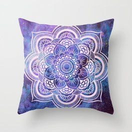 Galaxy Mandala Purple Lavender Blue Throw Pillow