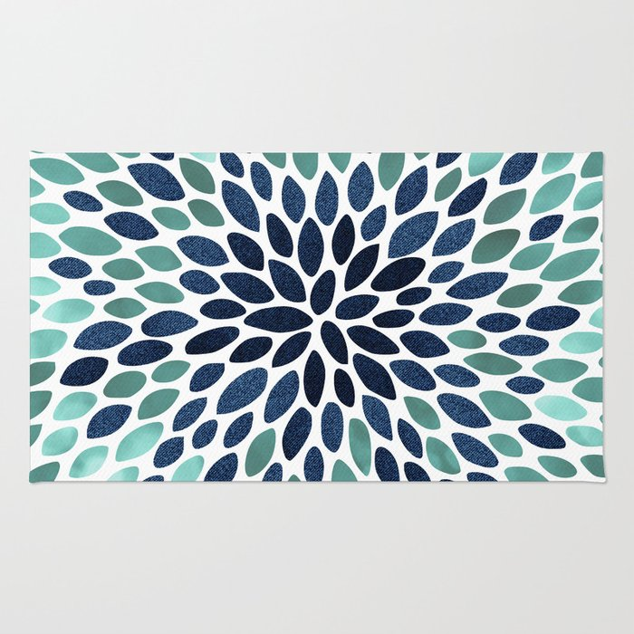Flower Bloom, Aqua and Navy Rug